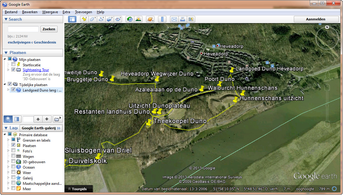 Wandeling op Google Earth